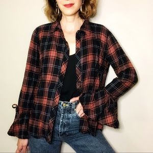 beachlunchlounge bell sleeve plaid flannel shirt S